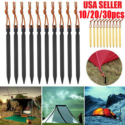 10-30Pcs Titanium Alloy Tent Nail Pegs Stakes With Rope Camping Hiking Outdoor
