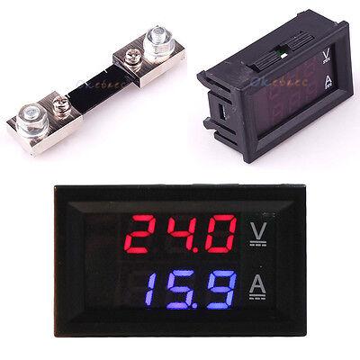 100A 100V DC Digital Voltmeter Ammeter Blue Red LED Amp Volt Meter Current Shunt