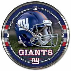 NEW YORK GIANTS CHROME 12 ROUND WALL CLOCK NFL FOOTBALL MAN CAVE!