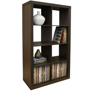 8 Cubby Square Display Shelves / Vinyl LP Record Storage Tower - Walnut 5125OC