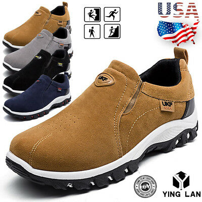 Gray Slip On - Men's Slip On Sports Outdoor Sneakers Running Walking Hiking Shoes Trainers Gray