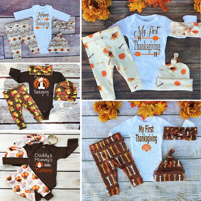 Thanksgiving Newborn Baby Boy Girl Outfits Clothes Romper Leggings 3PCS Set USA](Girl Thanksgiving Outfits)