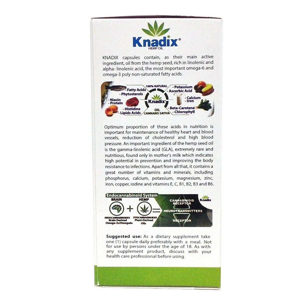 Knadix Hemp Oil. Rich Dietary Supplement. Non-Saturated Fatty Acids. 30 Caps. 4