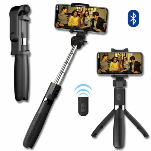 Mobile Phone Use Extendable Selfie Stick Bluetooth Remote Shutter Tripod Mount
