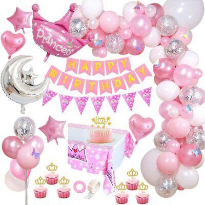 Geburtstagsdeko mädchen Luftballons Rosa weiß Balloons mit DIY Cake Topper