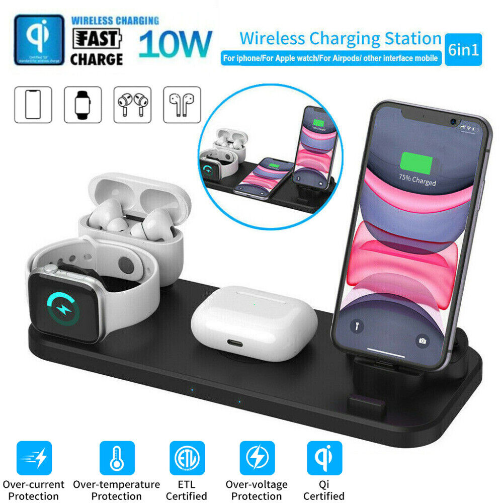 6in1 Wireless Charger Qi Fast Charging Station for iPhone 12