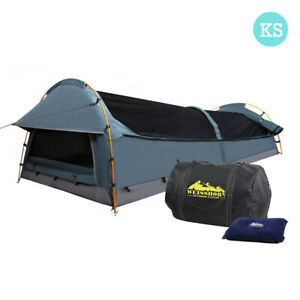 King Single Swag Camping Swags Canvas Tent Carry Bag Air Pillow Navy