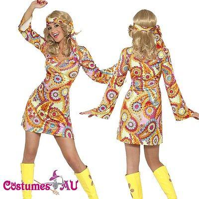 60s 70s Hippy Chick Lady Costume Disco Retro Groovy Go Go Dance Fancy Dress (Hippy Chick Fancy Dress)