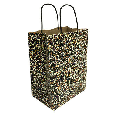 Kraft Paper Cub Shopping Gift Bags With Handles Leopard Printed Set 10 Pc 8