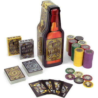 Blind Tiger Poker Chip Tin, 200 Chip Gift Set, 2 Decks Speakeasy Theme Cards
