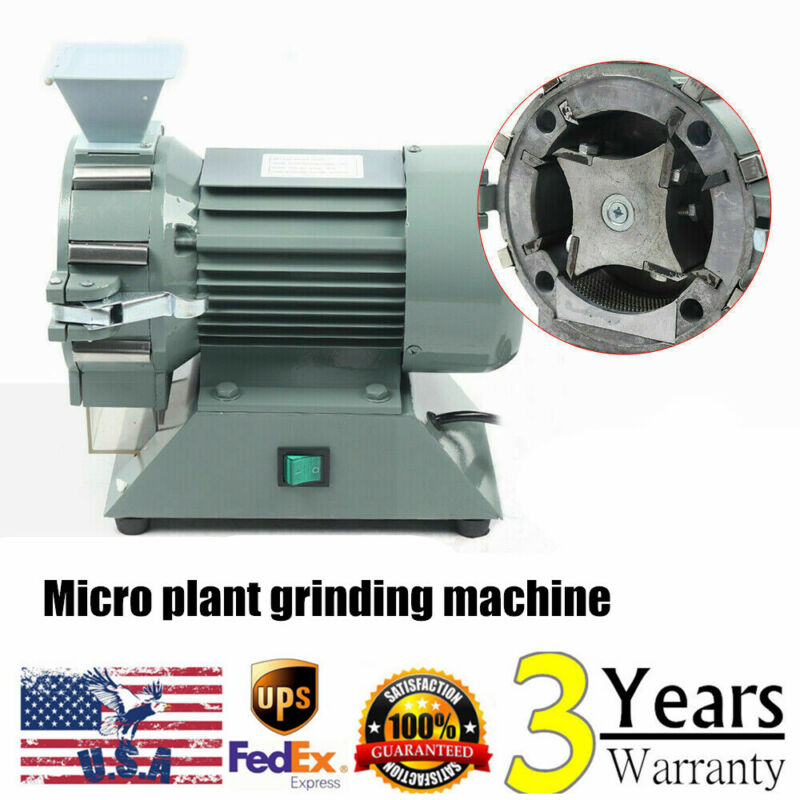 Electric Micro Plant Grinding Machine Grain Mill Plant Herbal Pulverizer 1400RPM
