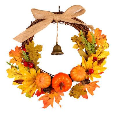 30CM Halloween Decor Fall Door Pumpkin Wreath Autumn Color Maple Leaf Garland