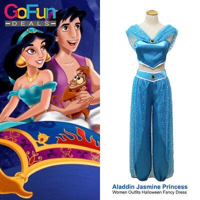 Aladdin Jasmine Prinzessin Kostüm Cosplay Frauen Oberseite+Hose+Stirnband (Aladdin Hosen Kostüm)