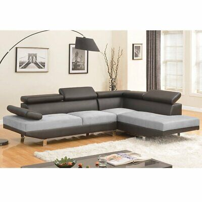 Modern Contemporary 2 Tone Microfiber Bonded Leather Sectional Sofa Grey Black Black Microfiber Couch