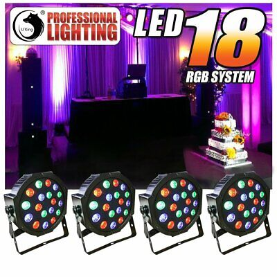 4PCS 54W 18LED RGB PAR CAN Stage Light DMX Disco Party Wedding Uplighting Remote