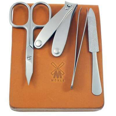 Muhle MCS1 Cowhide Case And Stainless Steel Tools Manicure Set - 4 Piece