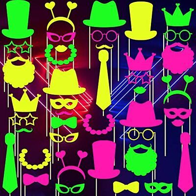 Skylety 42 Pieces Glow Neon Party Photo Booth Props Fully Assembled Colorful For