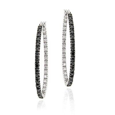 Sterling Silver Treated Black Diamond Accent Oval Hoop Earrings