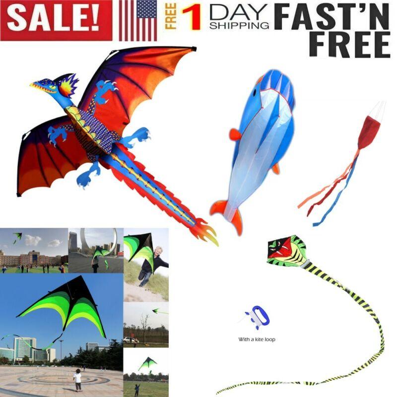 100m Kite Line 3D Dragon Kite With Tail Kites For Adult Kids