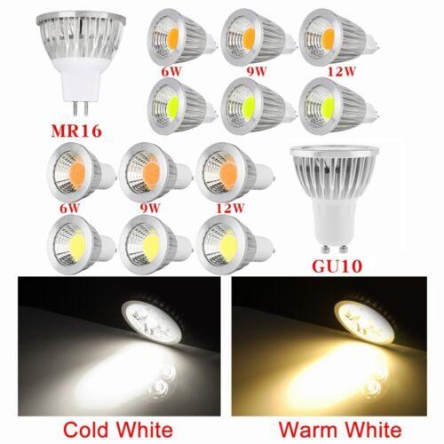 2/5/10x 6W/9W/12W GU10/MR16 COB LED Spotlight Spot Light Down Ligtht Lamp Bulb