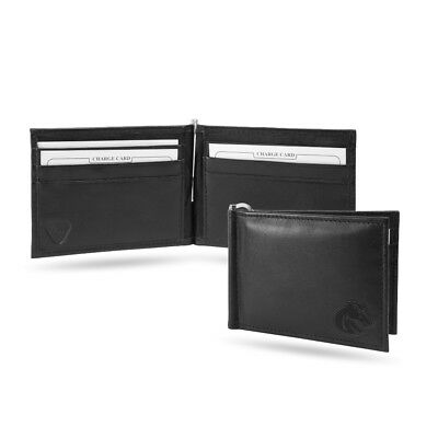 Boise State Broncos NCAA RFID Blocking Shield Black Leather Moneyclip Wallet Boise State Broncos Leather