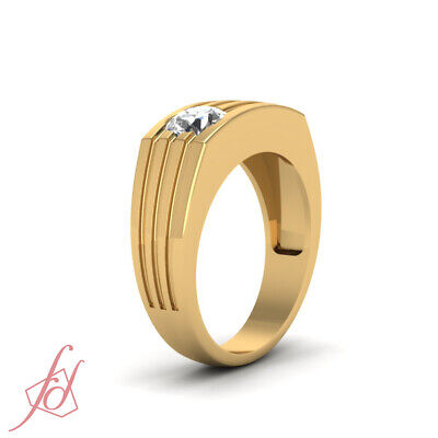 1/4 Carat Round Cut Diamond Solitaire Engagement Ring For Men In 18K Yellow Gold 2