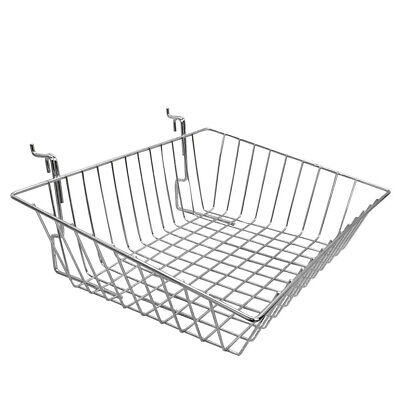 Slatwall Gridwall Pegboard Shallow Front Sloping Basket Display 6pc Chrome
