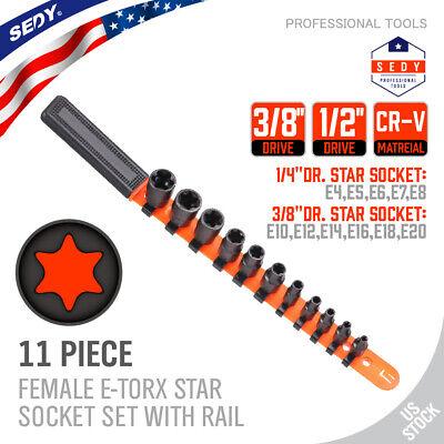 11pc Torx Star Bit Female External E Socket Set & Rail Automotive Tools E4-E20
