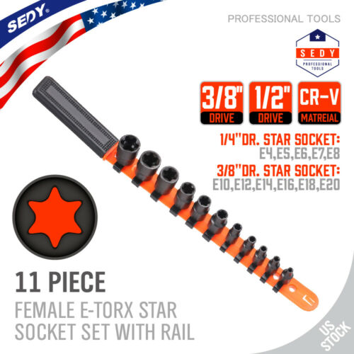 11pc Torx Star Bit Female External E Socket Set & Rail Autom