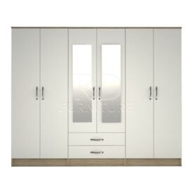 classy wardrobe 4 you, 2,28m wide 6 door oak and white wardrobe