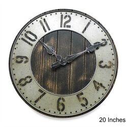 Large Wall Clock Rustic Industrial Urban Wood Punched Metal Loft Garage Shop NEW