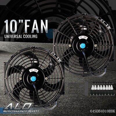 "2X 10"" inch Universal Slim Fan Push Pull Electric Radiator Cooling 12V Mount Kit"