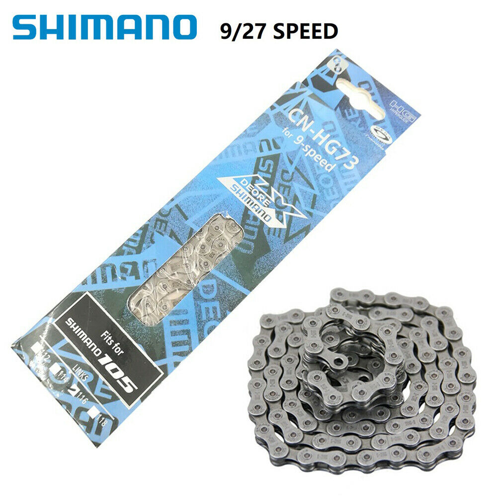 Shimano HG73 9 Speed Chain Mountain Bicycle Chain Steel Silver 116 links New