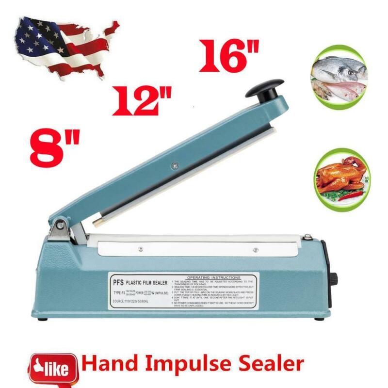 "8""12""16"" Impulse Sealer Manual Heat Sealing Machine Poly Element Tubing Plastic"