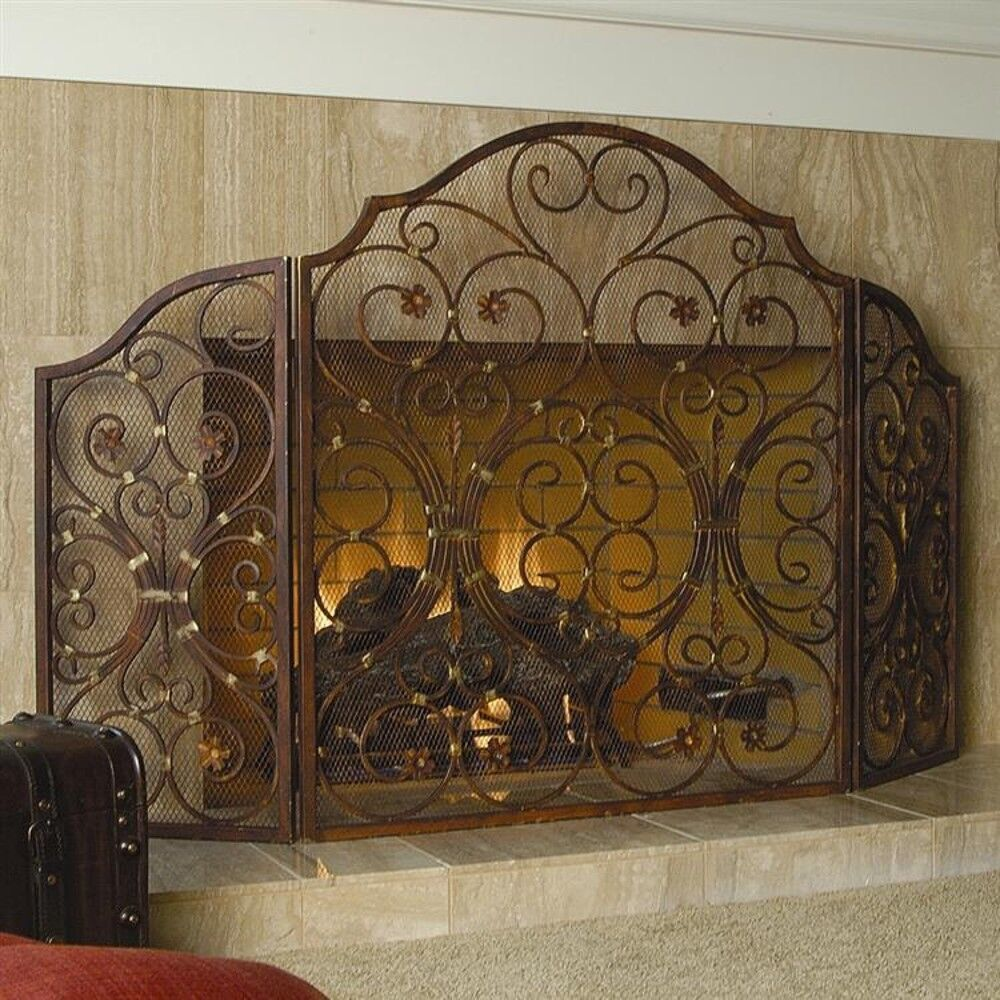 Antique Finish Iron Provincial 3 Panel Fireplace Screen