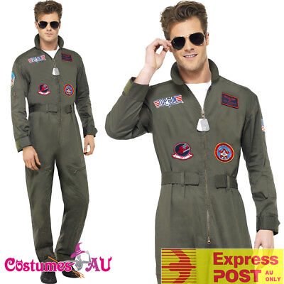 Top Gun Outfit (Mens Top Gun Costume Retro Men Aviator Pilot 1980s 80s Military Outfit)