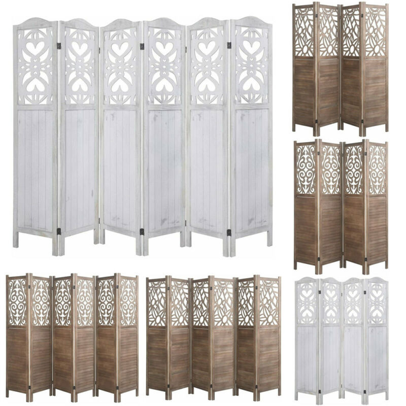 4, 6 Panels Cutout Room Divider Double Hinged Office Privacy Screens White/Brown