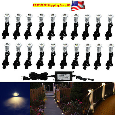 Aluminum 12 Volt Outdoor Step - 10/20X Warm White 24mm 12V Outdoor Driveway Yard Patio LED Deck Rail Step Lights