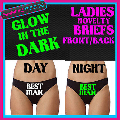 LADIES KNICKERS BRIEFS PERSONALISED LADS STAG PARTY BEST MAN GLOW IN THE (The Best Panties For Men)