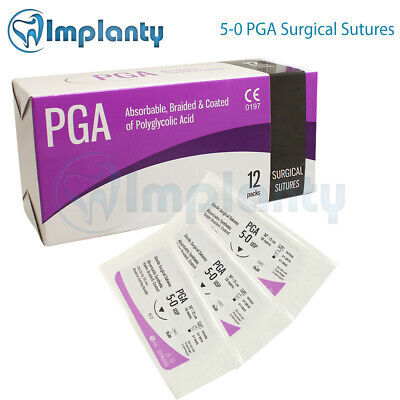 5-0 Braided Absorbable Pga Surgical Suture Dental Medical Wound 12pcsbox