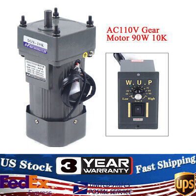 110v Gear Motor Electric Variable Speed Controller Torque Large 110k 135rpm