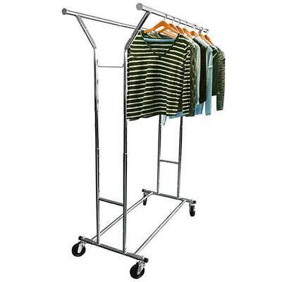 Commercial Adjustable Clothing Rolling Double Garment Rack Hanger Holder Us