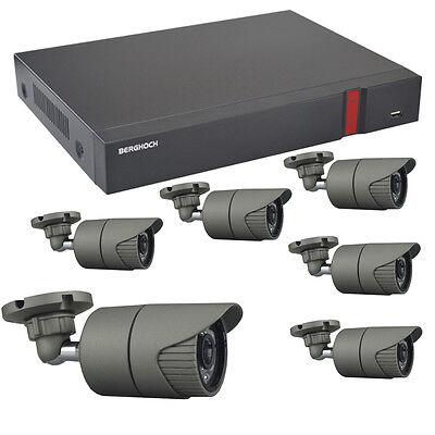 Videoüberwachung Set HD 1080p POE 6x Aussen Überwachungskamera + 2000 GB Festpl.