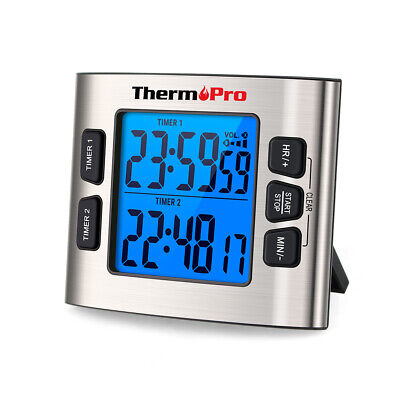 ThermoPro LCD Digital Kitchen School Timer Clock W/ Dual Countdown Stop Watches