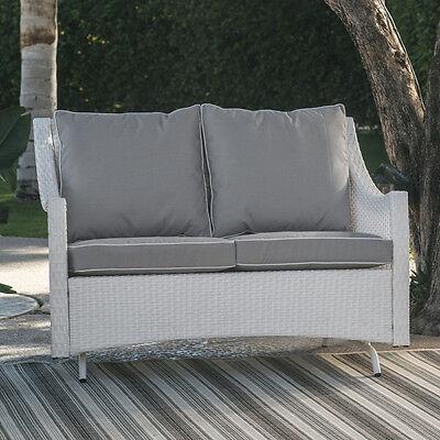 White Resin Wicker 2 Person Loveseat Patio Glider Outdoor Home Furniture Garden ()