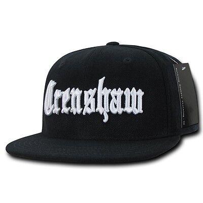 Black Crenshaw South Central LA Embroidered Hip Hop Flat Bill Snapback Cap (La La La La La Hip Hop)