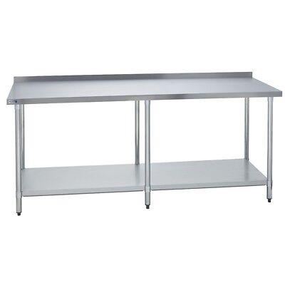 Stainless Steel Commercial Work Prep Table - 2 Backsplash - 24 X 84 G