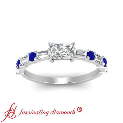 1.25 Carat Radiant Cut Diamond And Sapphire Gemstone East West Engagement Ring 1