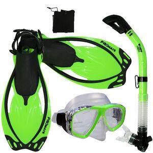 Adult-Snorkeling-Dive-Gear-Mask-Dry-Snorkel-Fins-Mesh-Bag-Package-Sets
