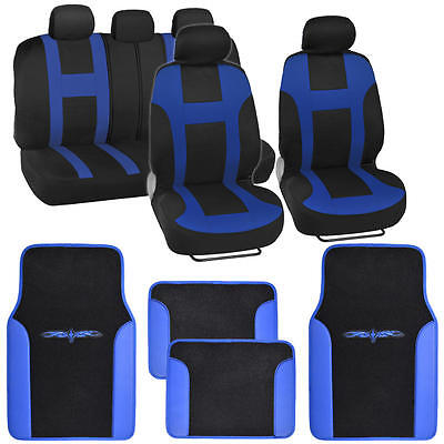"""Seat Cover for Car SUV """"Monaco """" Racing Style Stripes Blue with Vinyl Mats"""